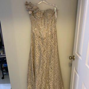 Jovani lace prom dress one shoulder